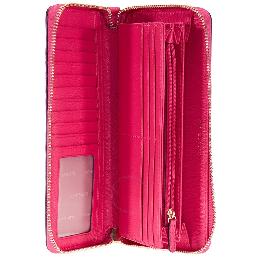 5ff15f636ff2 Michael Kors Jet Set Tavel Leather Continental Wallet - Ultra Pink ...