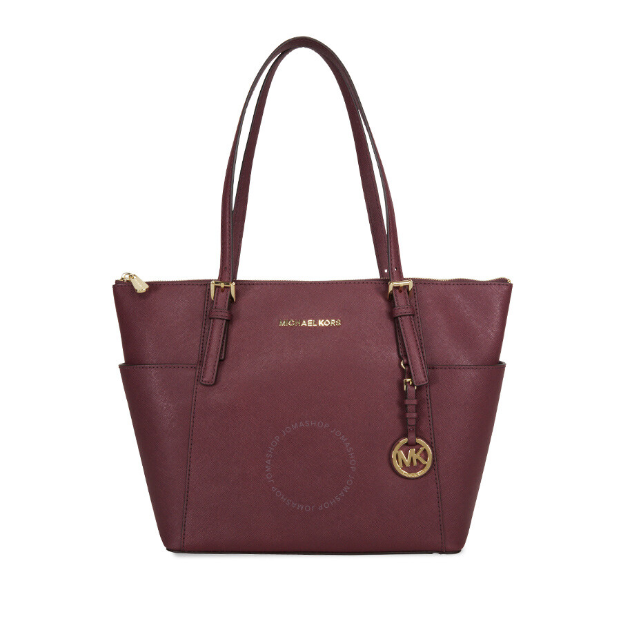 8e4c8fb5172787 Michael Kors Jet Set Top-Zip Saffiano Leather Medium Tote - Plum ...