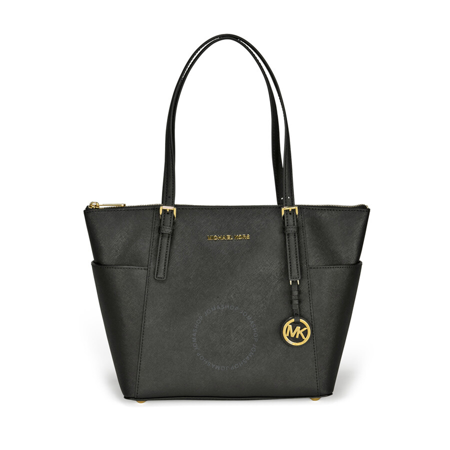 47518cd8e662 Michael Kors Jet Set Top-Zip Saffiano Leather Medium Tote in Black ...