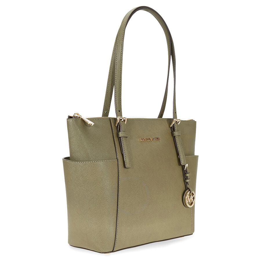 562c3f3c964e Michael Kors Jet Set Top-Zip Saffiano Leather Tote in Olive - Medium ...