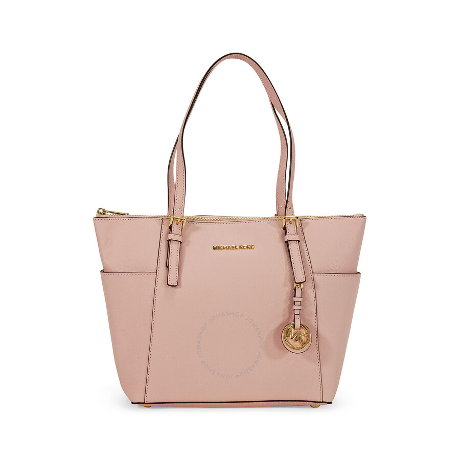 49440992a152 Michael Kors Jet Set Top-Zip Saffiano Leather Medium Tote in Blossom ...