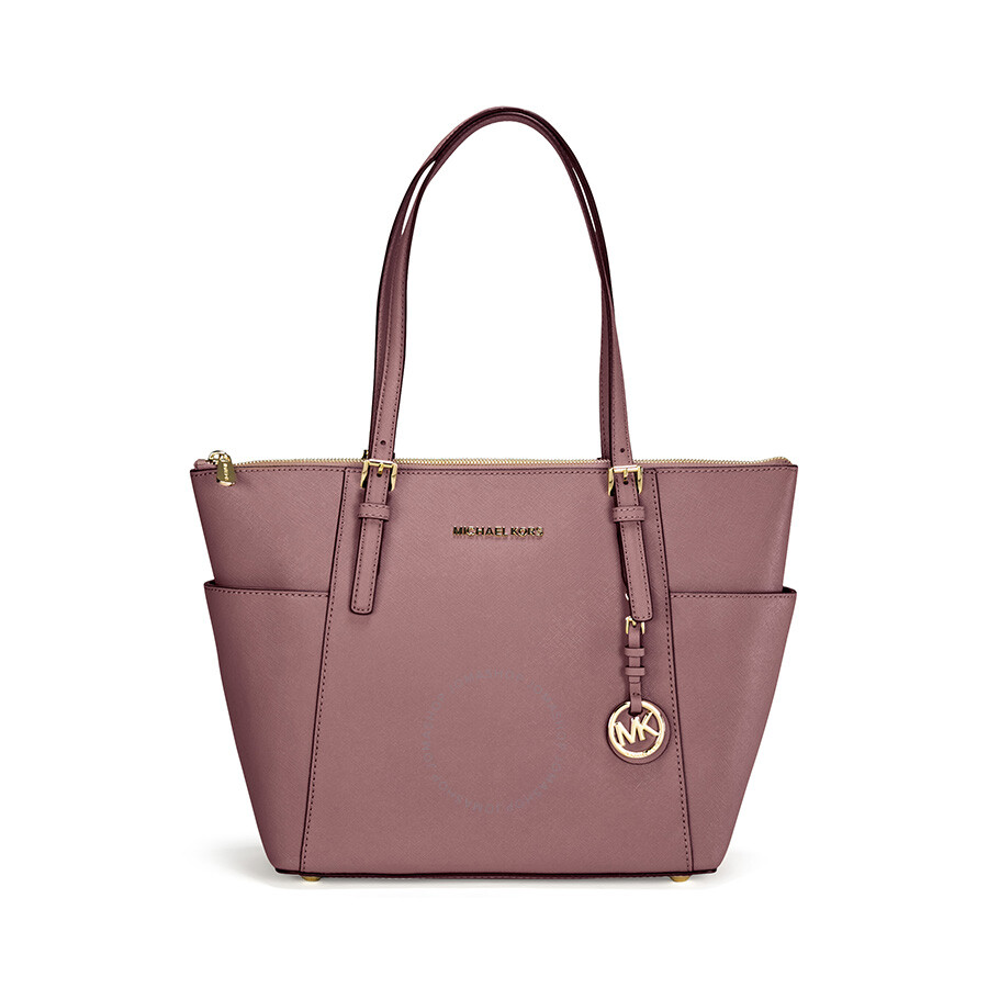 306b8449eac4 Michael Kors Jet Set Top-Zip Saffiano Leather Medium Tote in Dusty Rose