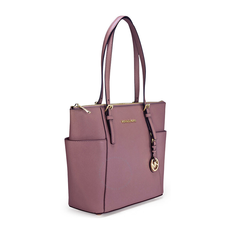 0f0bef4e23a9 Michael Kors Jet Set Top-Zip Saffiano Leather Medium Tote in Dusty Rose
