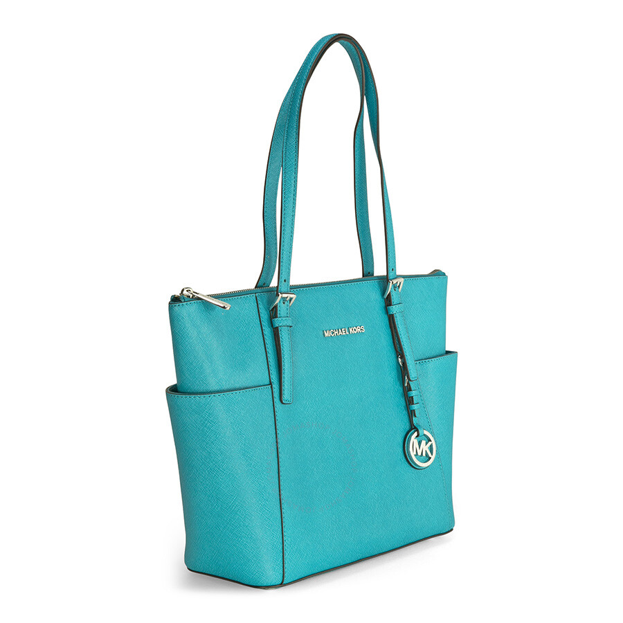 6fe3d4037d61 Michael Kors Jet Set Top-Zip Saffiano Leather Tote - Tile Blue Item No.  30F2STTT8L