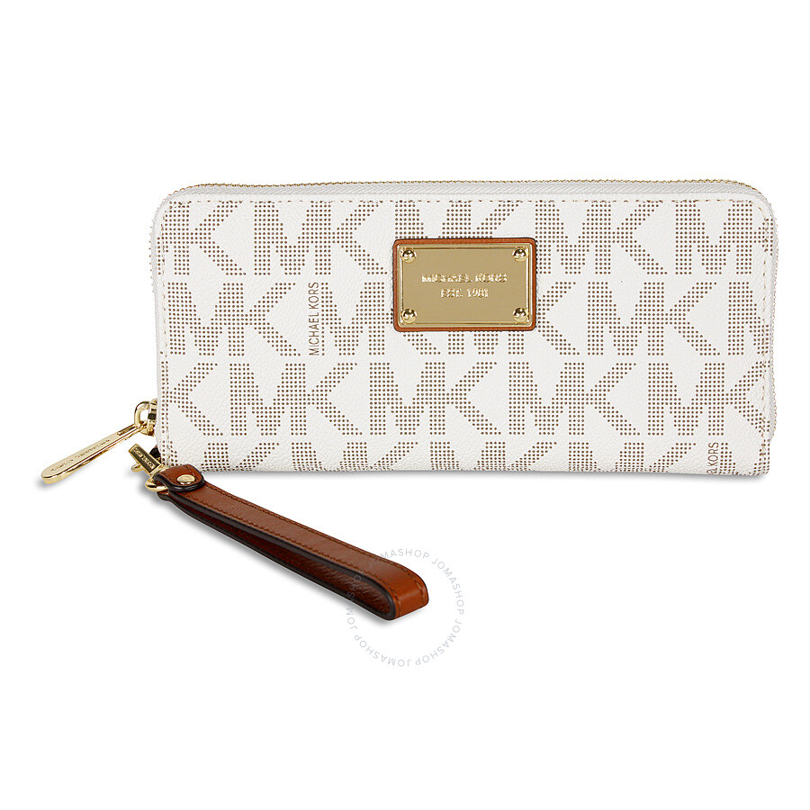 4d9cb3e3409d37 Michael Kors Jet Set Travel Continental PVC Wallet - Vanilla Item No.  32T5GTTE9B-150