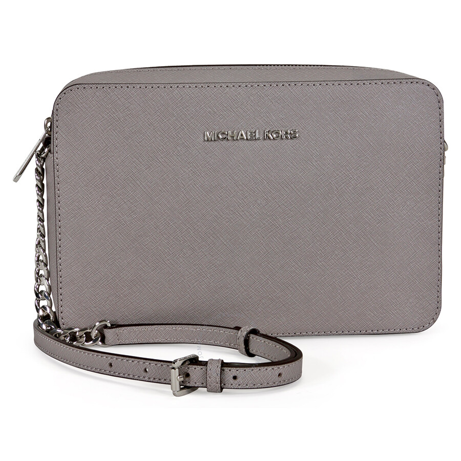 c8122bafd0f8 Michael Kors Jet Set Travel Large Crossbody Handbag - Pearl Grey Item No.  32S4STVC3L-081