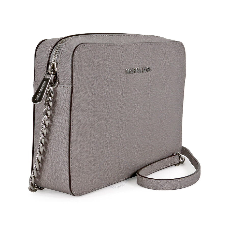 1eed527ae922b Michael Kors Jet Set Travel Large Crossbody Handbag - Pearl Grey Item No.  32S4STVC3L-081