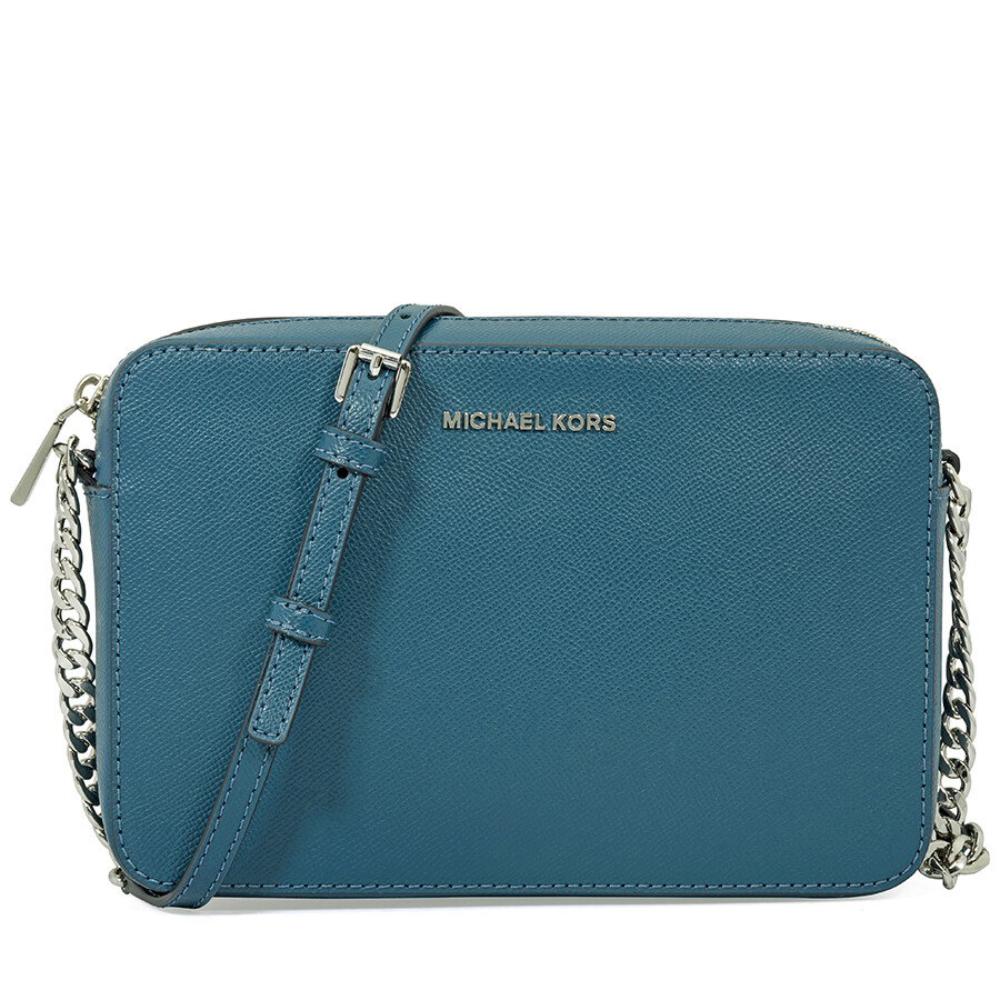 82530d38c482 Michael Kors Jet Set Travel Large Leather Crossbody Bag- Teal Item No.  32S4STVC3L-402