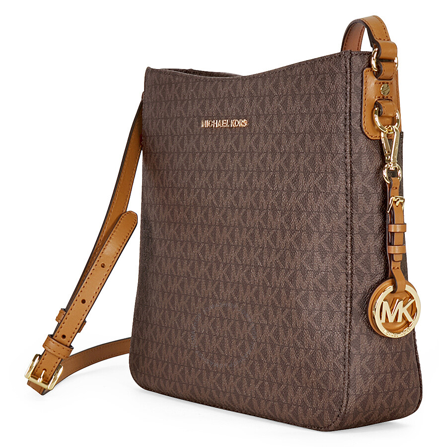 5aa66e9bf351 Michael Kors Jet Set Travel Large Logo Messenger - Brown - Jet Set ...