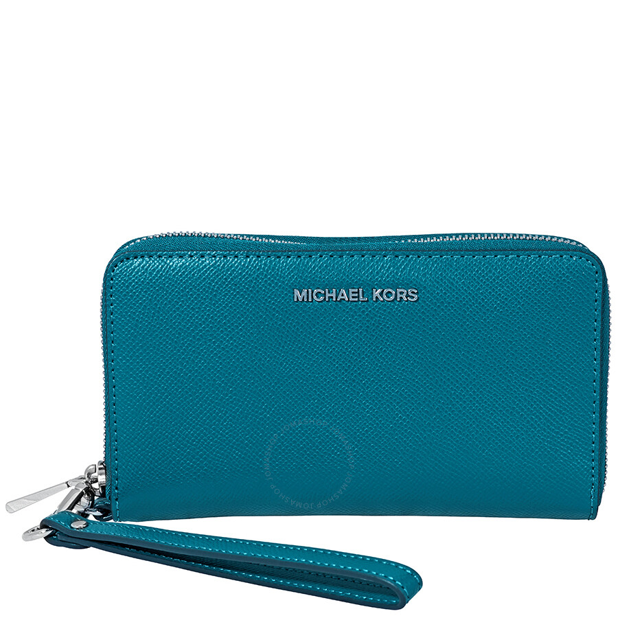 10608db319d886 Michael Kors Jet Set Travel Large Saffiano Leather Smartphone Wristlet- Teal  Item No. 32H4STVE9L-402