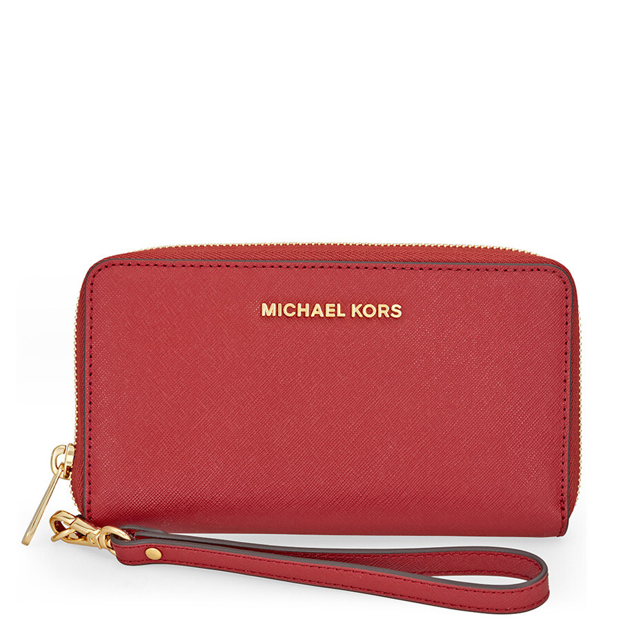 91fcd3da1e77a Michael Kors Jet Set Travel Large Smartphone Wristlet - Burnt Red Item No.  MK32H4GTVE9L-361