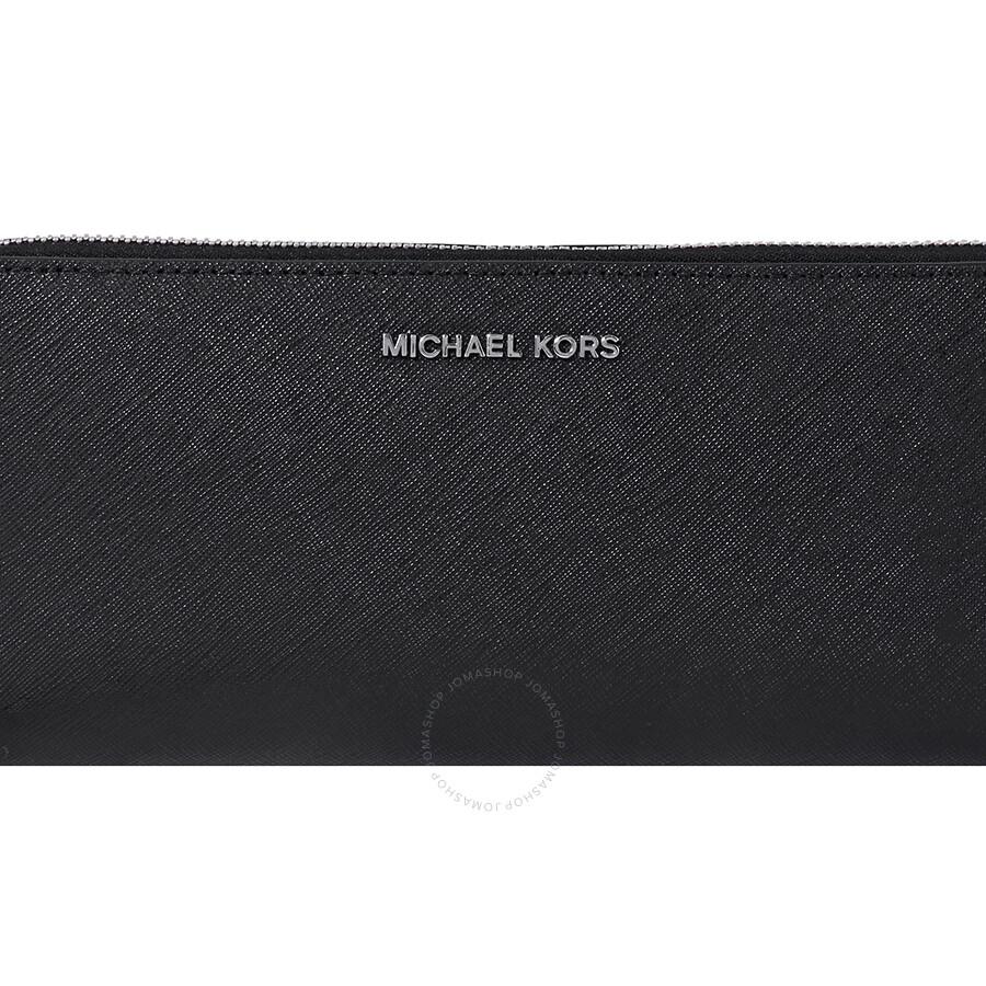 06a3b7af4 Michael Kors Jet Set Travel Leather Continental Wallet- Black - Jet ...