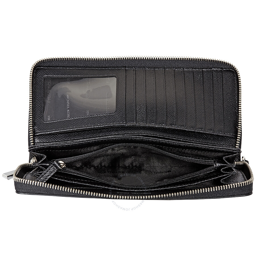 06150f5a8b49a5 Michael Kors Jet Set Travel Leather Continental Wallet- Black - Jet ...