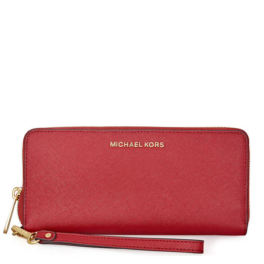 d3e96568cfef Michael Kors Jet Set Travel Leather Continental Wallet- Burnt Red Item No.  MK32S5GTVE9L-361