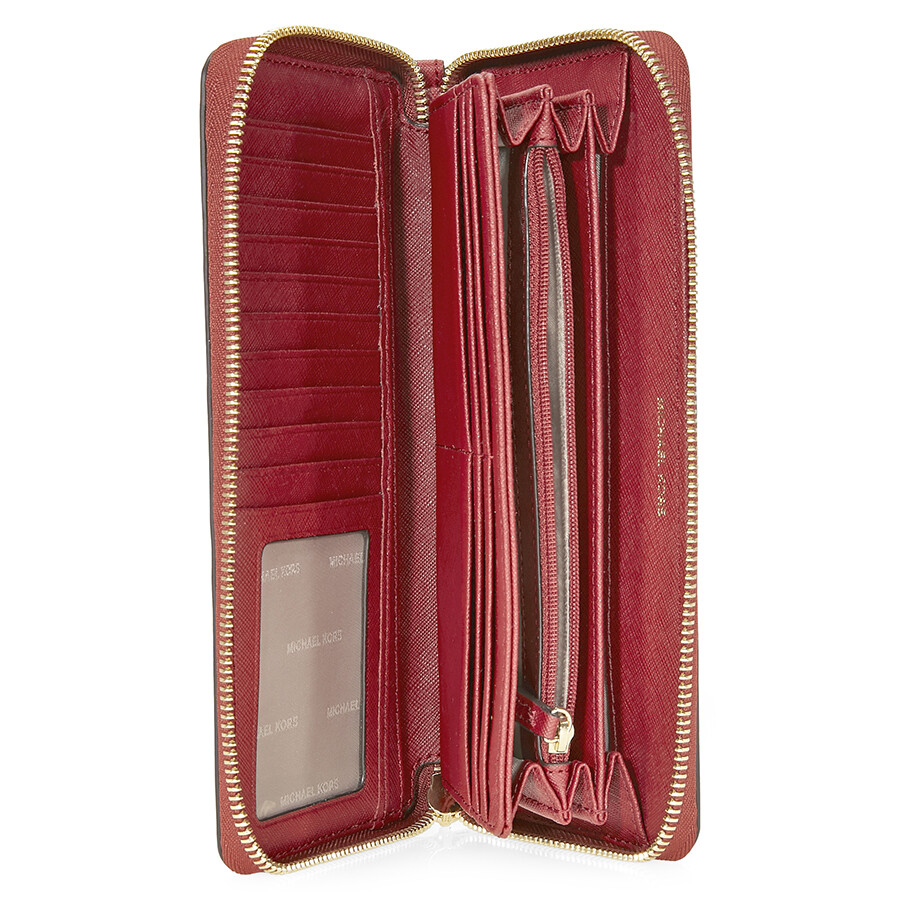 ee5a2fe876ea ... Michael Kors Jet Set Travel Leather Continental Wallet- Burnt Red