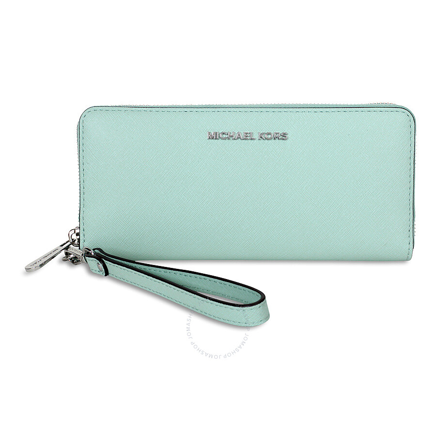 6329823d08f7 Michael Kors Jet Set Travel Leather Continental Wallet - Celadon Item No.  32S5STVE9L-303