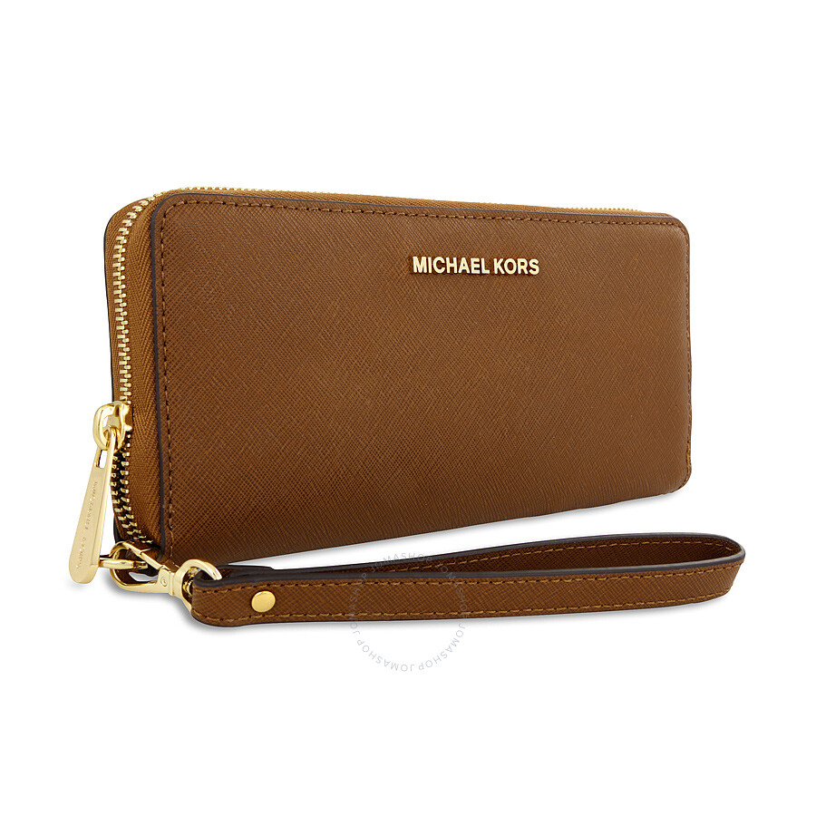 0574ec25f9f3a ... Michael Kors Jet Set Travel Leather Continental Wallet - Luggage ...