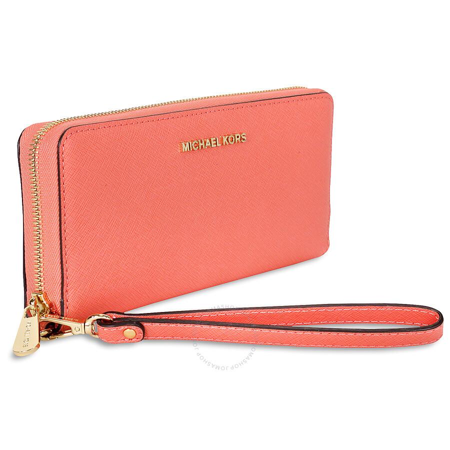 69aad3908634 ... Michael Kors Jet Set Travel Leather Continental Wallet - Pink  Grapefruit ...
