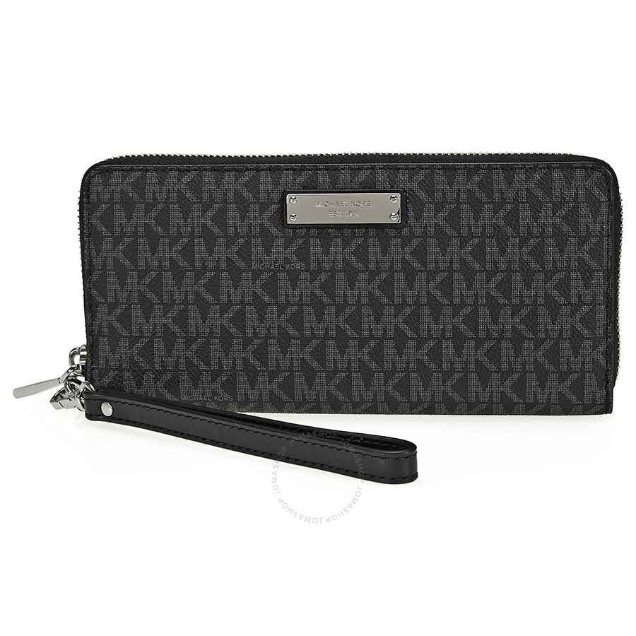 91b4f8c5143e Michael Kors Jet Set Travel Logo Continental Wallet- Black Item No.  32S7STTE9B-001