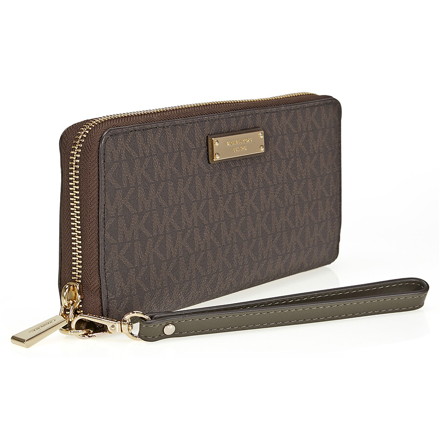 6eb2b3496897d1 Michael Kors Jet Set Travel Logo Continental Wristlet- Brown and Olive
