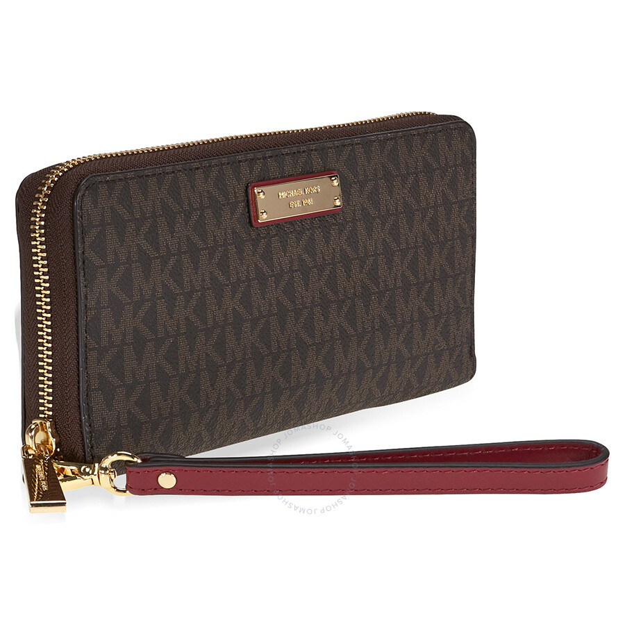 bf41600c93fc Michael Kors Jet Set Travel Logo Continental Wristlet- Brown and Mulberry