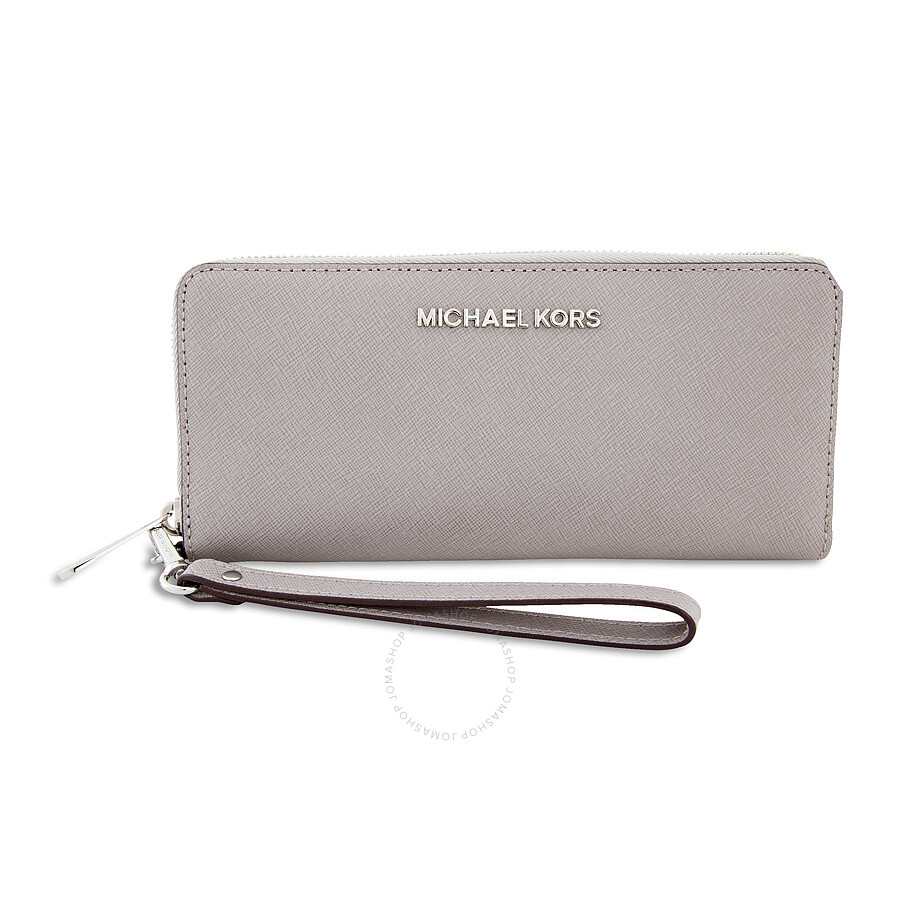 a7f5547778f3 Michael Kors Jet Set Travel Saffiano Continental Wallet - Pearl Grey Item  No. 32S5STVE9L-081