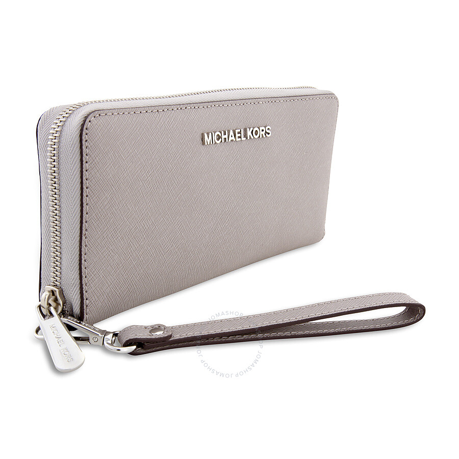 02ec3b6861f5 Michael Kors Jet Set Travel Saffiano Continental Wallet - Pearl Grey ...