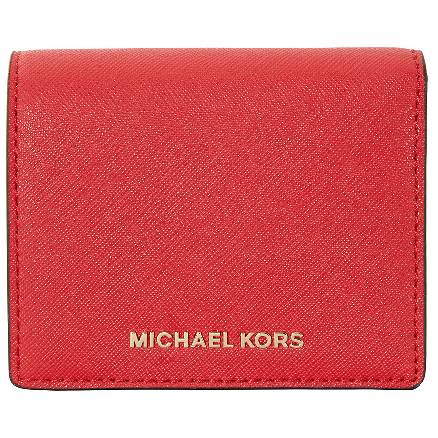 f43da1a1e2d6 Michael Kors Jet Set Travel Saffiano Leather Card Holder - Bright Red