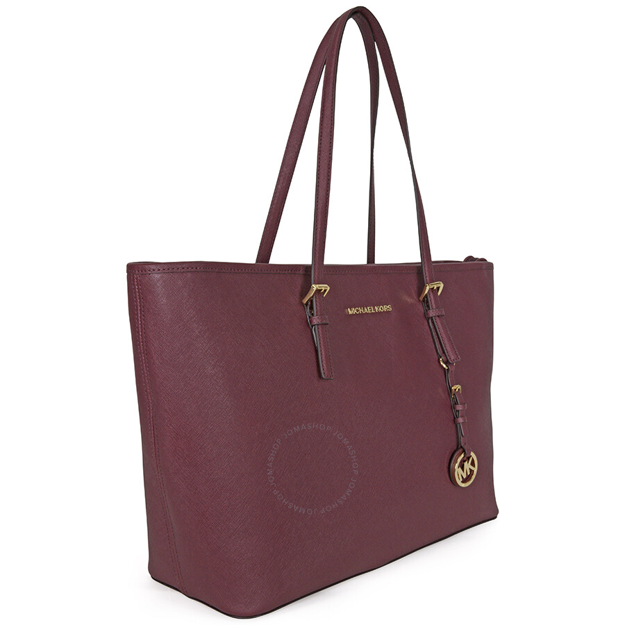 d639e5f4258d43 Michael Kors Jet Set Medium Travel Saffiano Leather Tote - Plum Item No.  30T5GTVT2L-633