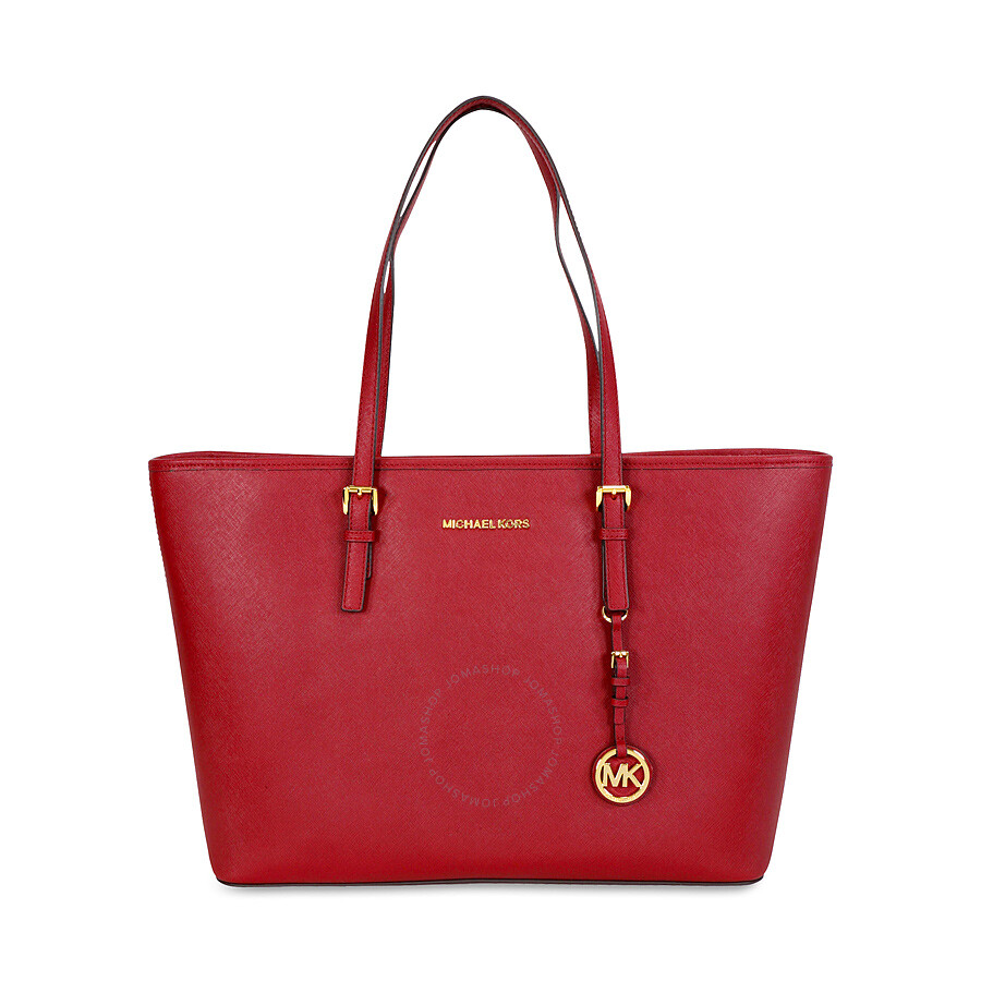 ee7835c29469e7 Michael Kors Jet Set Medium Travel Saffiano Leather Tote - Cherry Red