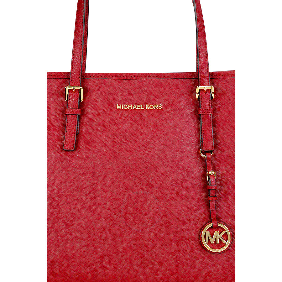 b6f60fc62e33 Michael Kors Jet Set Medium Travel Saffiano Leather Tote - Cherry Red