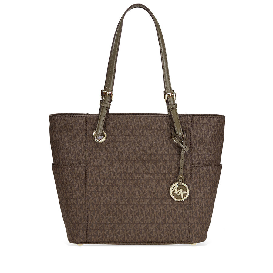 2a3d28d89e2298 Michael Kors Jet Set Travel Small Logo Tote In Brown and Olive Item No.  30H6GTTT3V-247