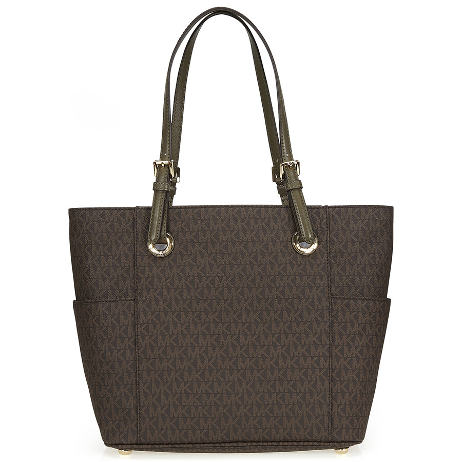 michael kors jet set travel small logo tote in brown and. Black Bedroom Furniture Sets. Home Design Ideas