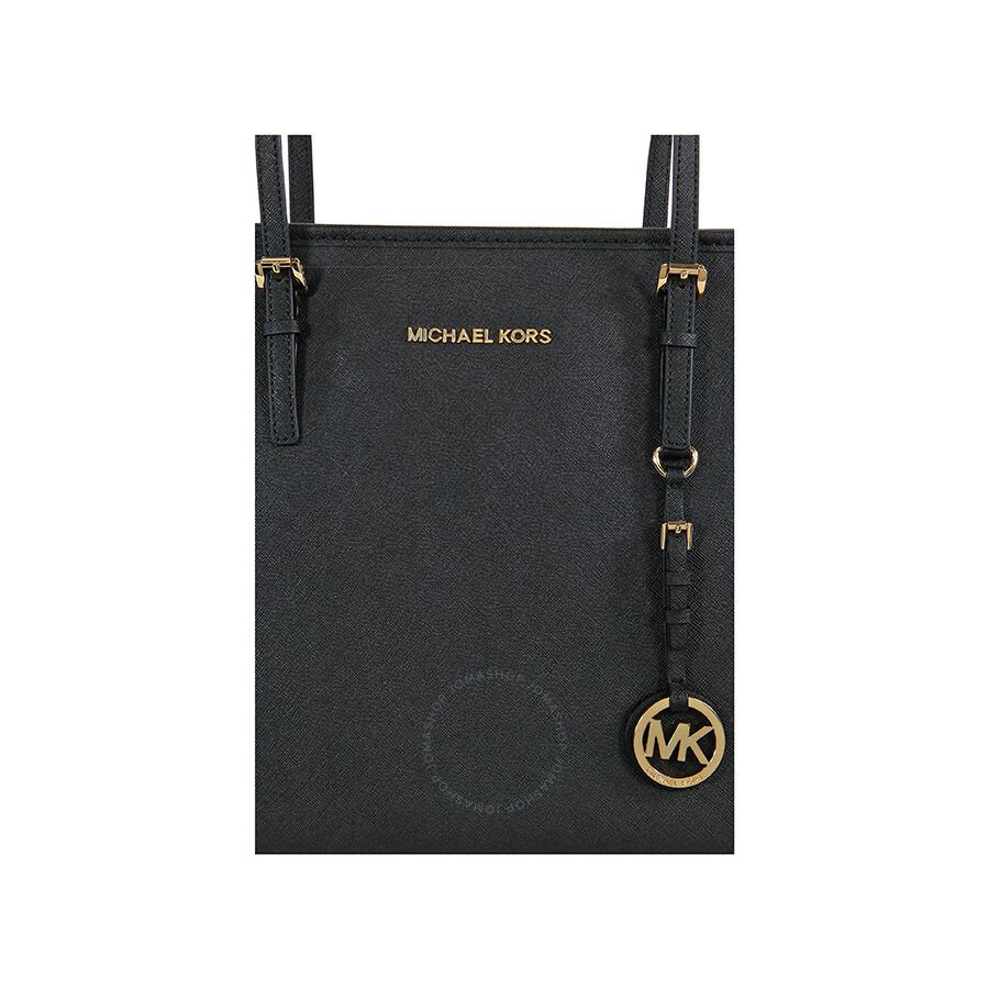 13dbb480c2d6 Michael Kors Jet Set Travel Top Zip Black Leather Tote - Jet Set ...