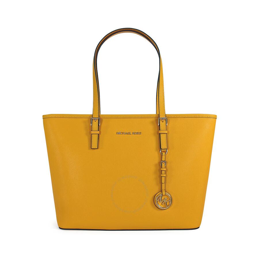 bf84bcf0cbd4 Michael Kors Jet Set Travel Top Zip Sun Yellow Leather Tote Item No.  30S4GTVT2L-724