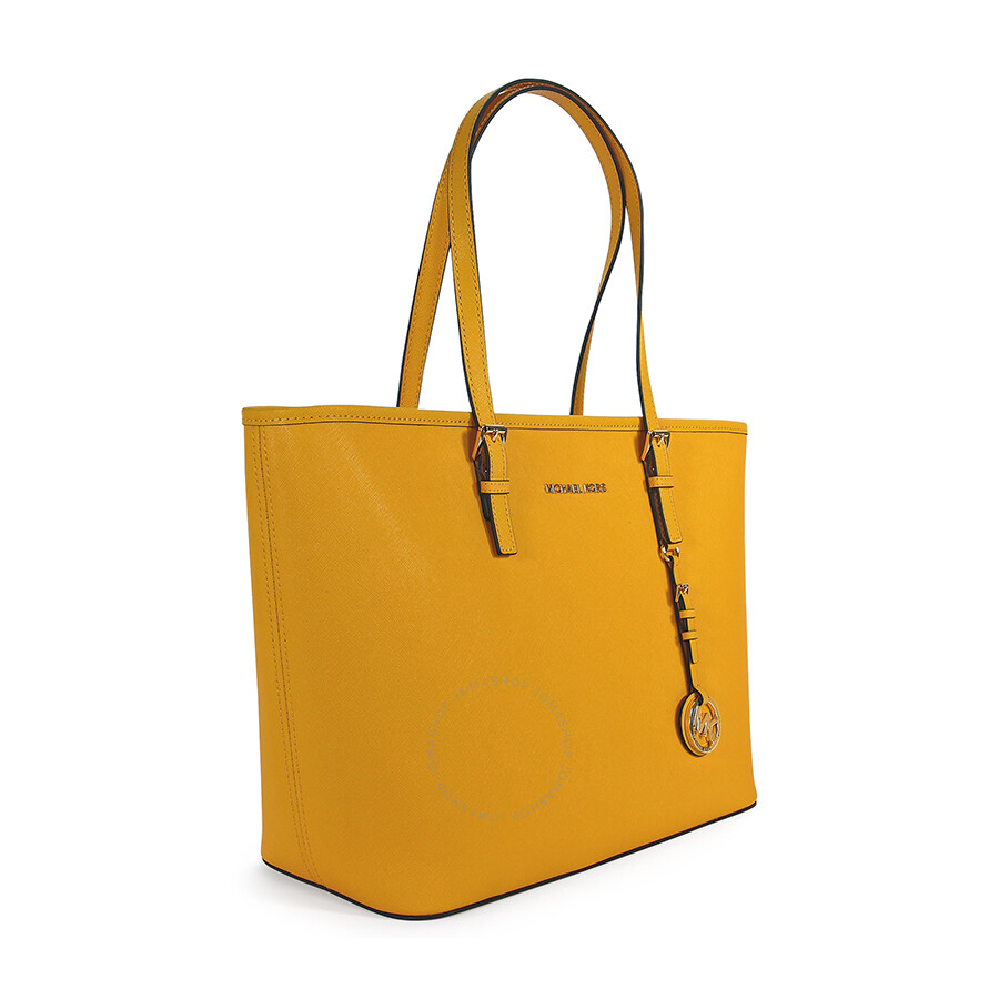 Michael Kors Jet Set Travel Top Zip Sun Yellow Leather Tote