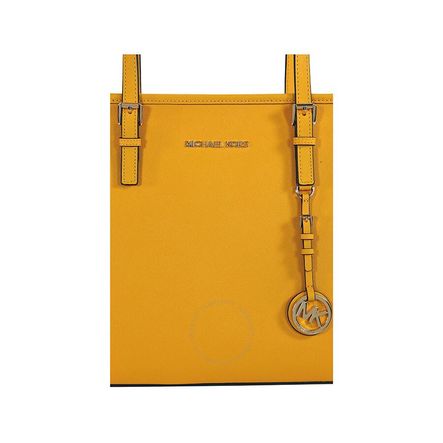 9fc3d7b67d7e Michael Kors Jet Set Travel Top Zip Sun Yellow Leather Tote - Jet ...