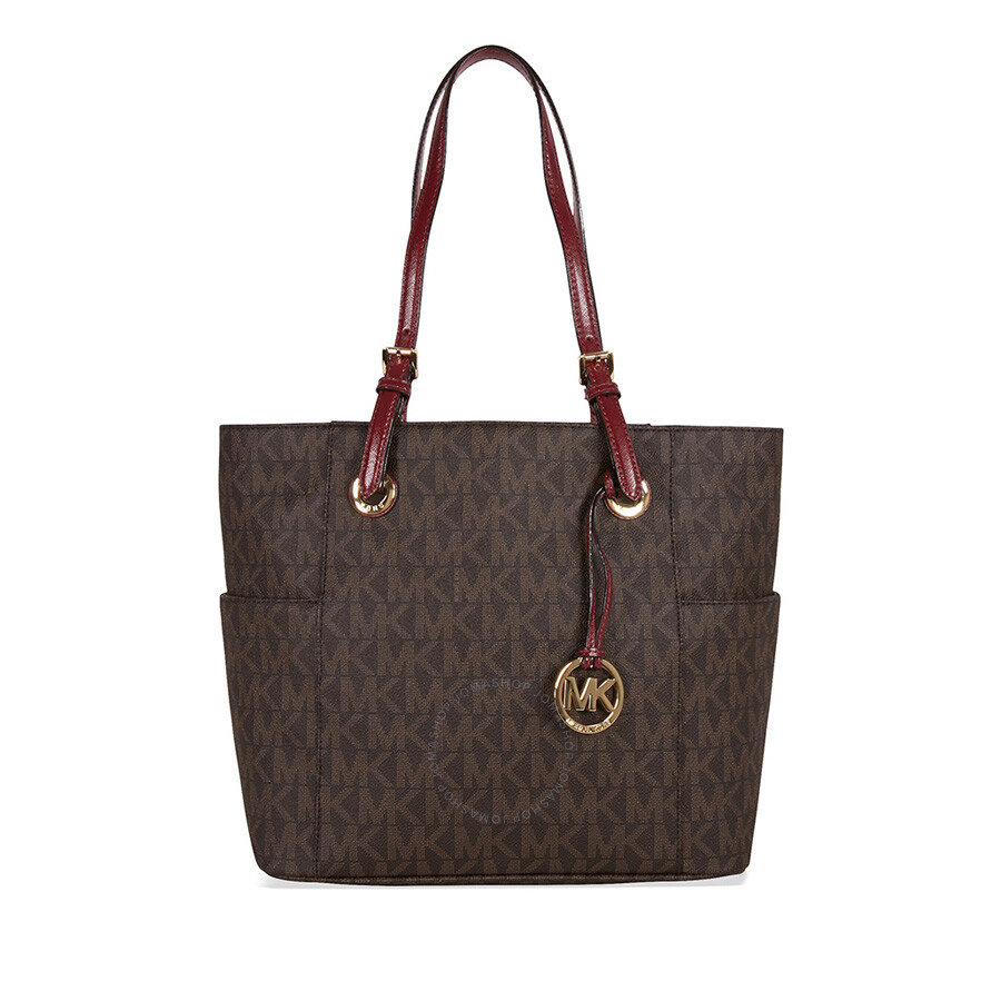 Michael Kors Jet Set Tote Brown Red
