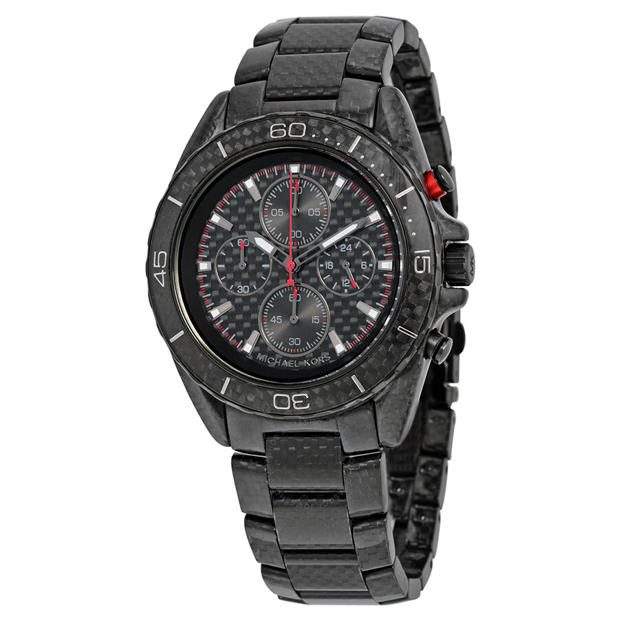 f5bedb805956 Michael Kors Jetmaster Black Carbon Fiber Chronograph Dial Men s Watch  MK8455 ...