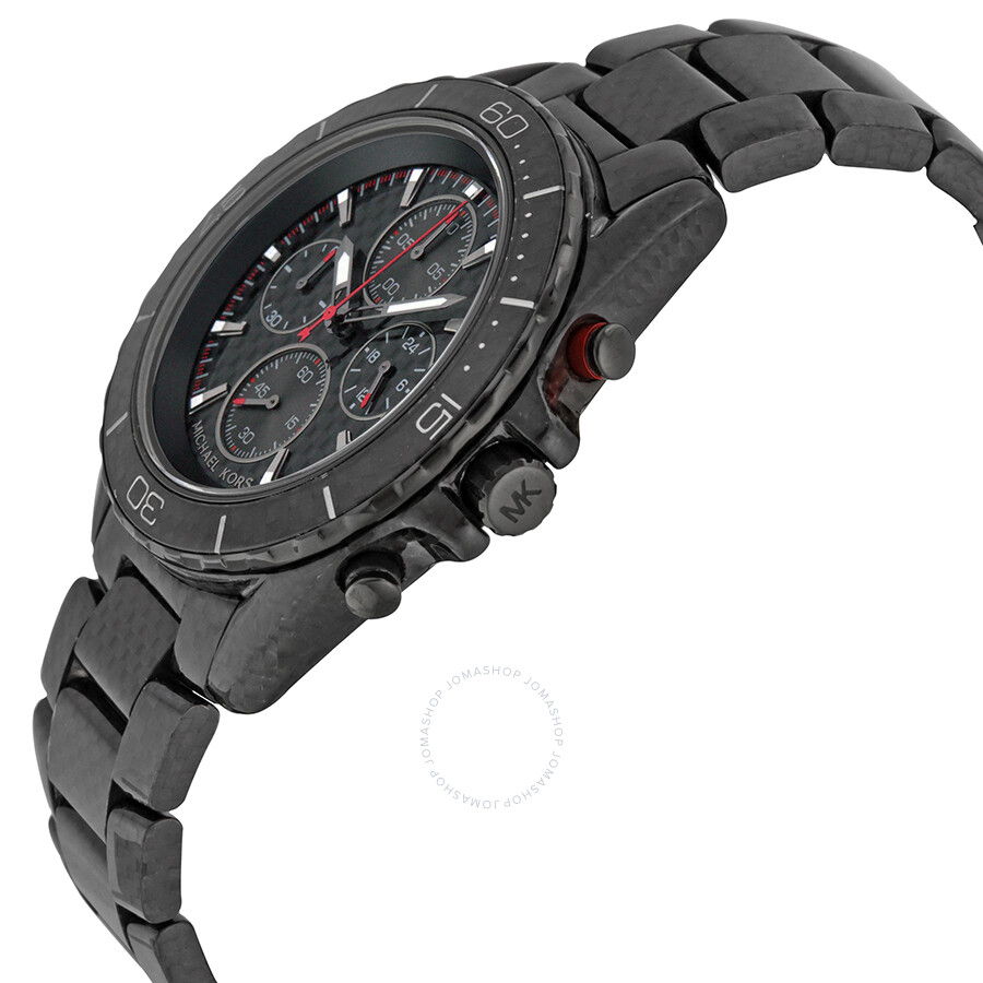 076d2236ad4a ... Michael Kors Jetmaster Black Carbon Fiber Chronograph Dial Men s Watch  MK8455 ...