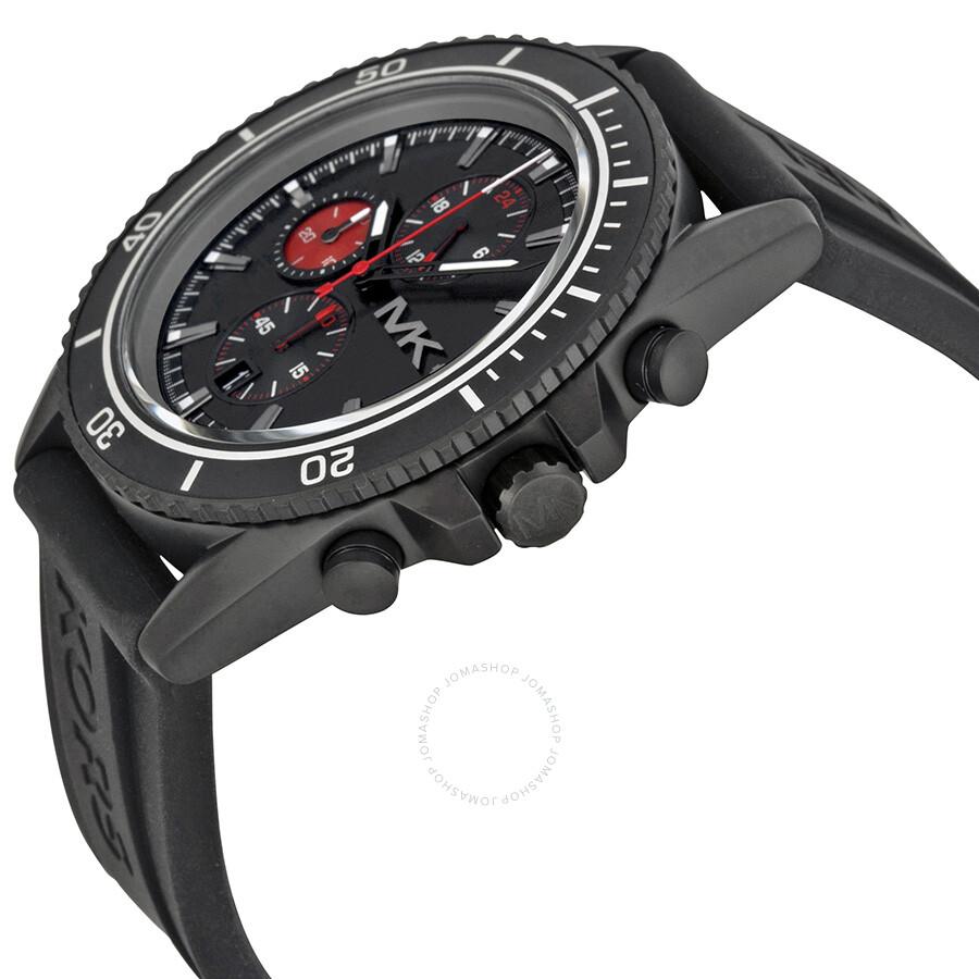 michael kors jetmaster chronograph black black rubber