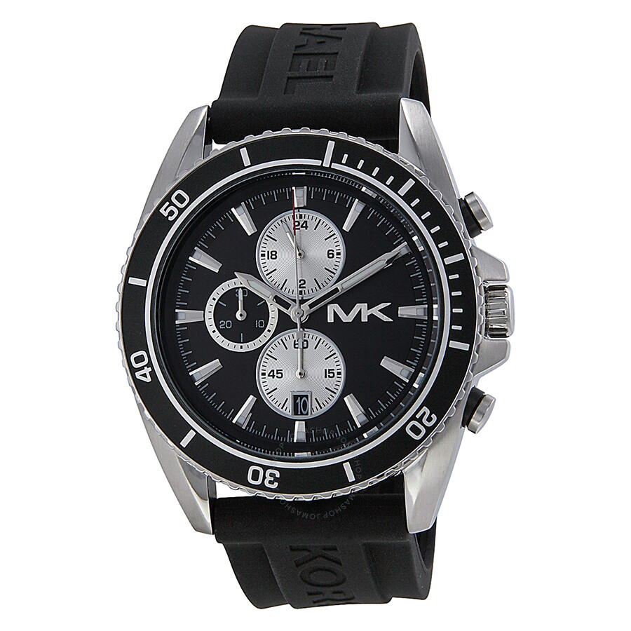 57451db3a1ec Michael Kors JetMaster Chronograph Black Dial Black Silicone Men s Watch  MK8355 ...