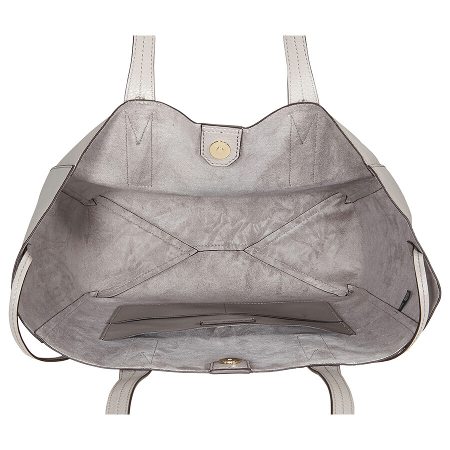 17b92a571f7e Michael Kors Junie Large Pebbled Leather Tote- Pearl Grey - Michael ...