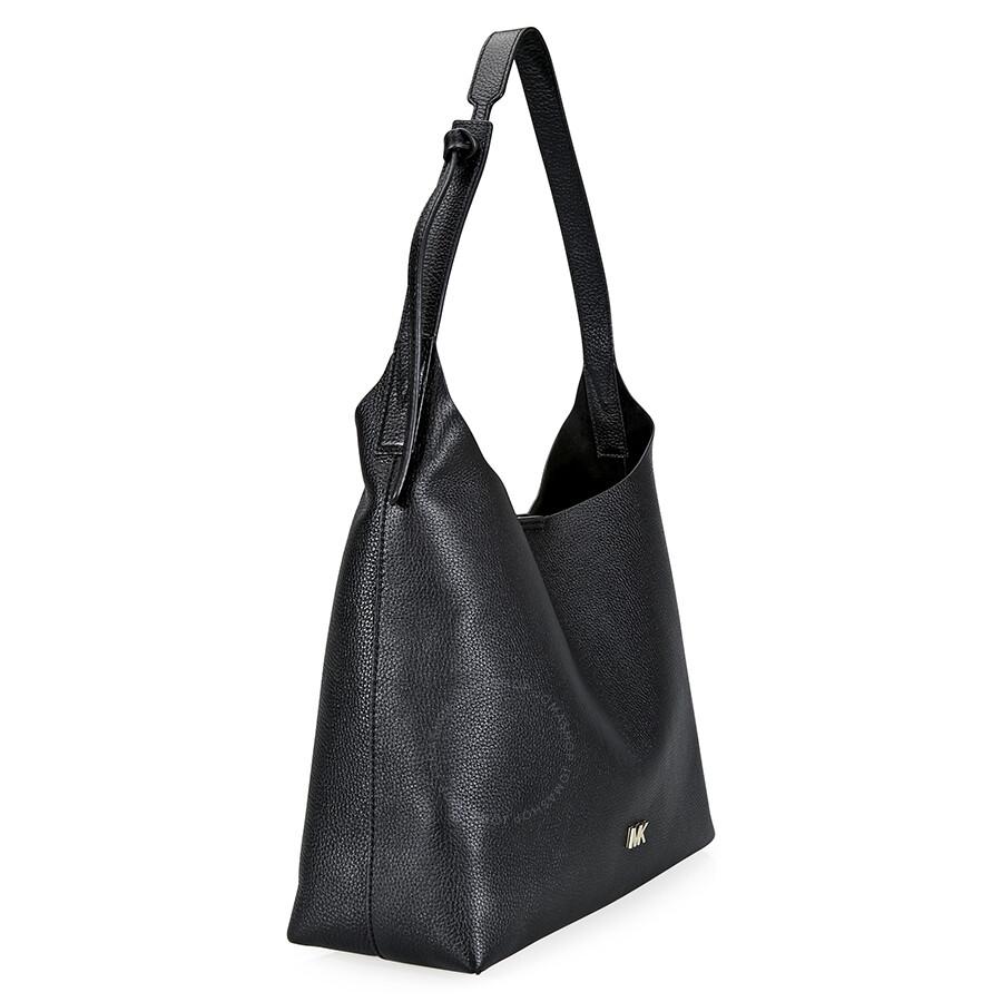 f0c57b476a13 Michael Kors Junie Medium Leather Shoulder Bag - Black - Michael ...
