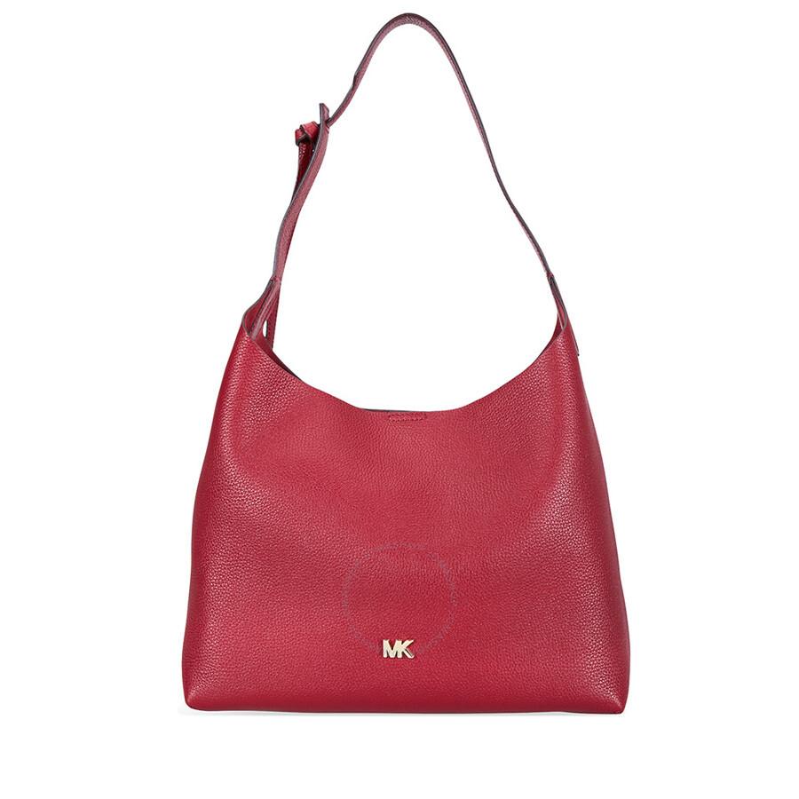 1dd8aad1756d Michael Kors Junie Medium Leather Shoulder Bag - Maroon Item No.  30T8TX5H2L-550
