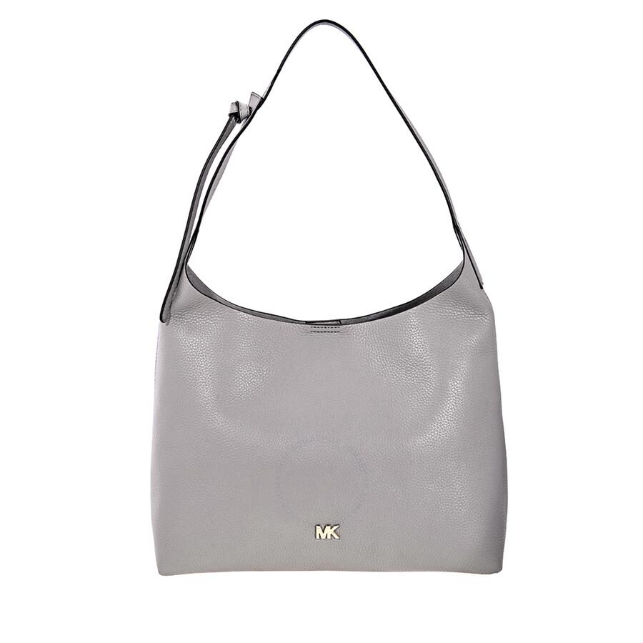 5d1cb73d2fd0 Michael Kors Junie Medium Leather Shoulder Bag - Pearl Grey ...