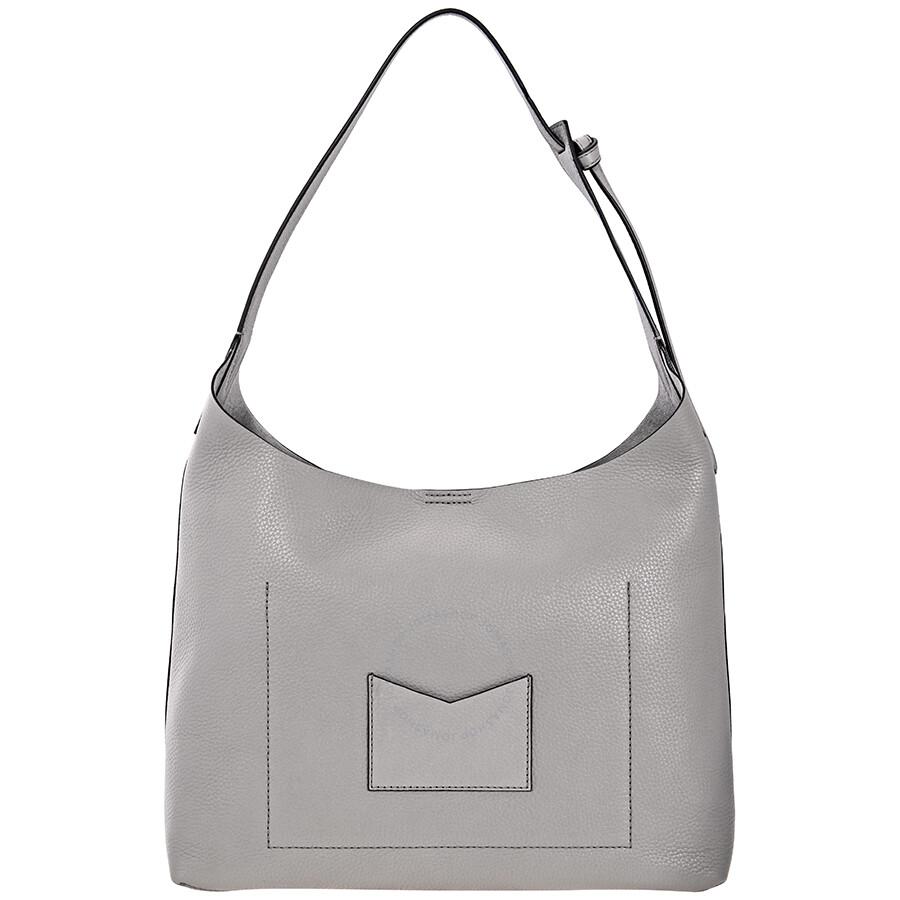 fbc36763757b Michael Kors Junie Medium Leather Shoulder Bag - Pearl Grey Item No.  30T8TX5H2L-081