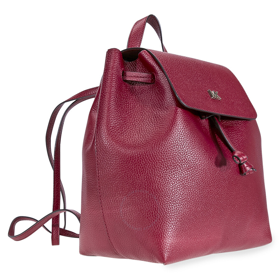 084f51afd17c Michael Kors Junie Medium Pebbled Leather Backpack - Maroon ...