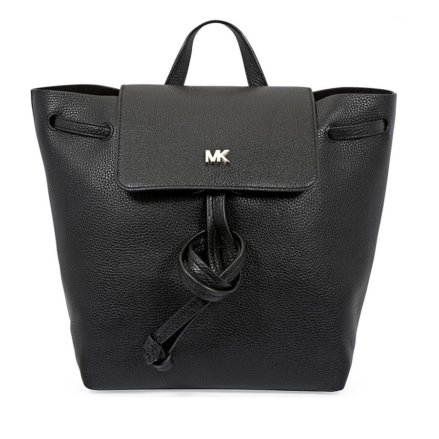 ac0d3751bf5813 Michael Kors Junie Medium Pebbled Leather Backpack- Black Item No.  30T8TX5B2L-001