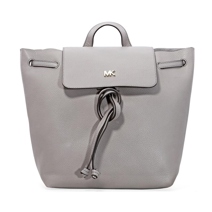 f6d4563f3c Michael Kors Junie Medium Pebbled Leather Backpack- Pearl Grey Item No.  30T8TX5B2L-081